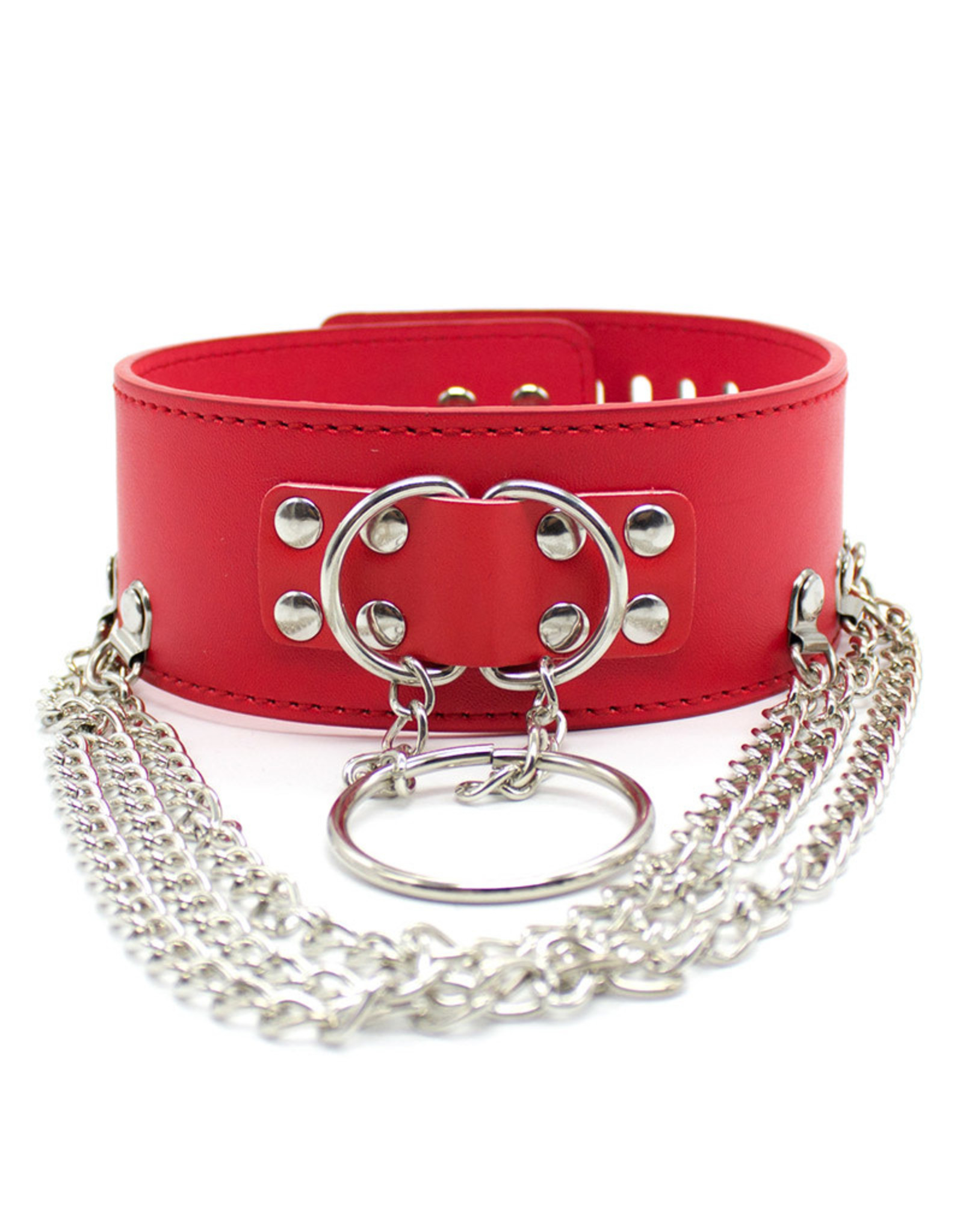PU LEATHER PUNK CHOKER COLLAR RED