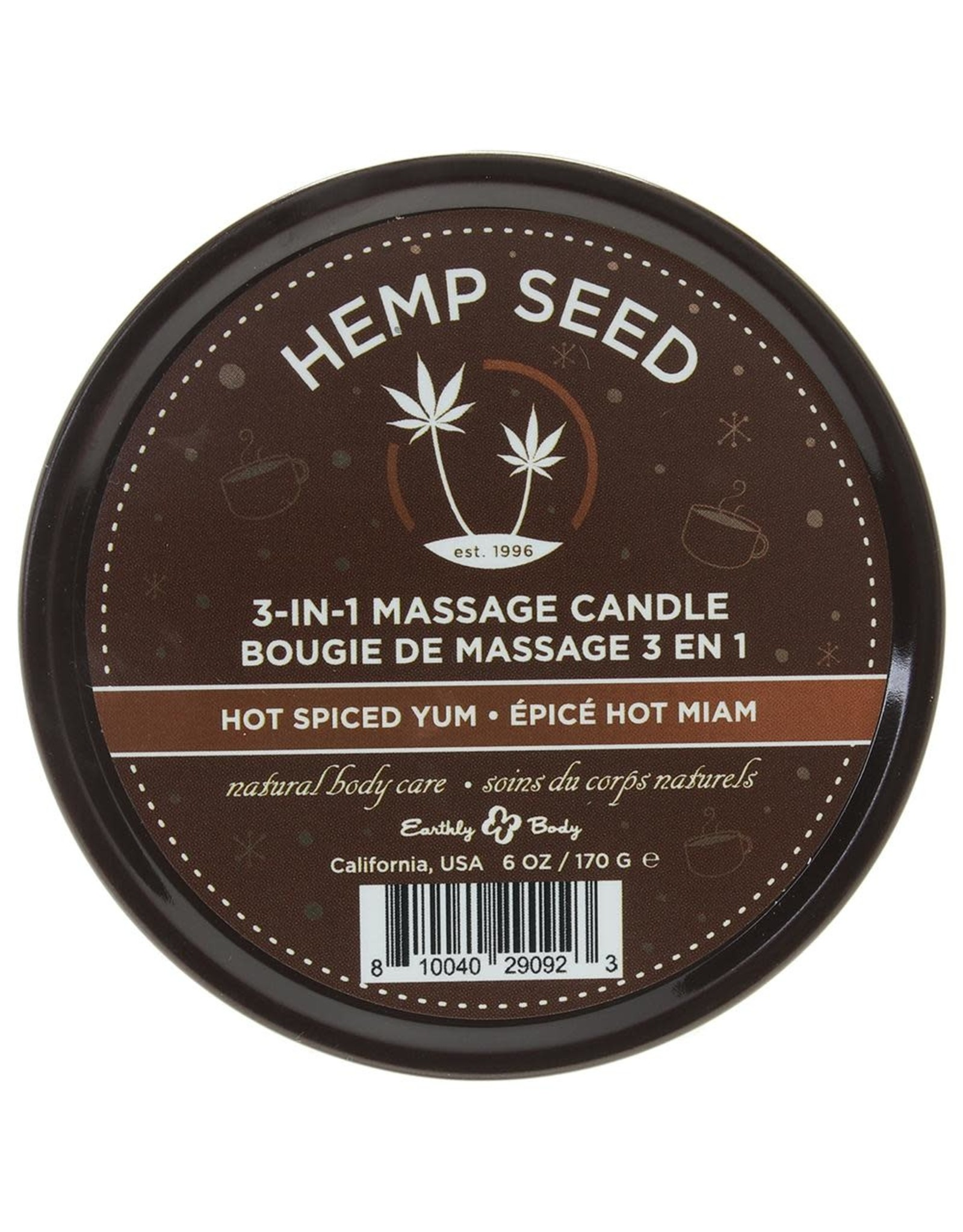 EARTHLY BODY - 3-IN-1 MASSAGE CANDLE 6OZ/170G - HOT SPICED YUM