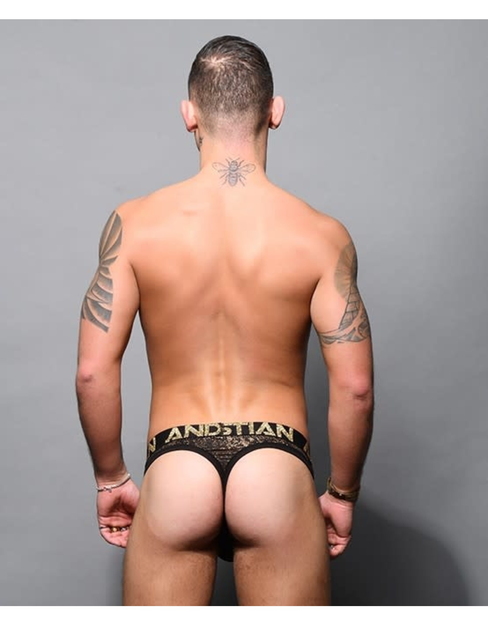 ANDREW CHRISTIAN - GLAM ANIMAL THONG W/ ALMOST NAKED BLACK/GOLD MEDIUM