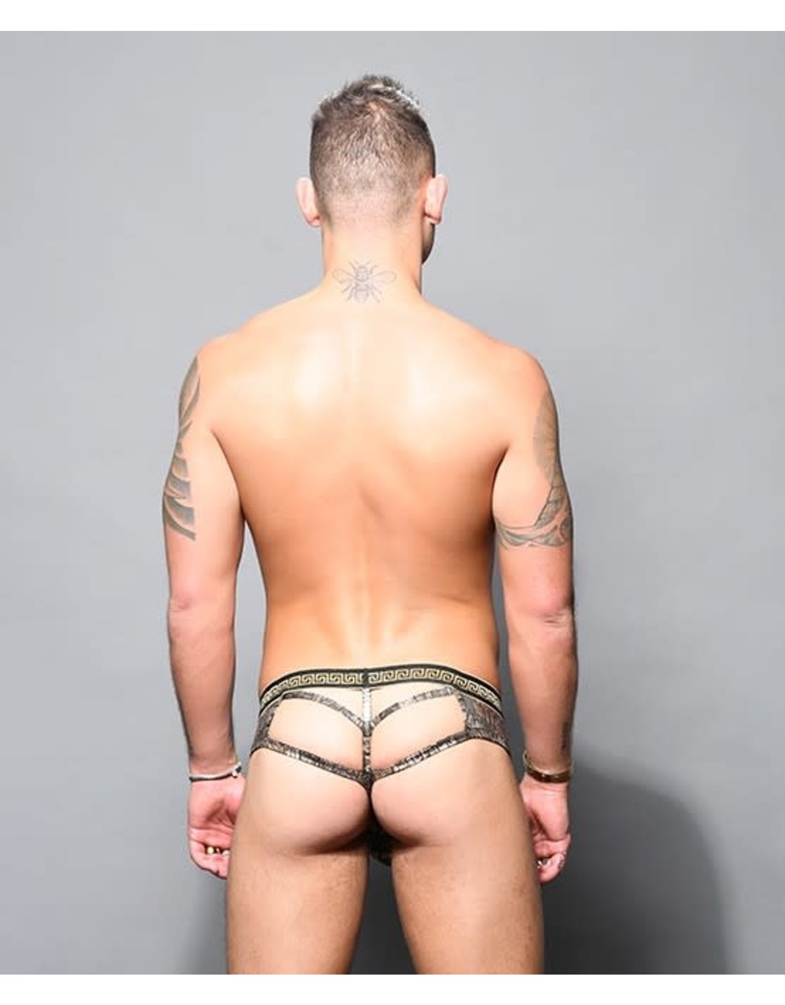 ANDREW CHRISTIAN - MASSIVE PYTHON FRAME THONG BLACK/GOLD LARGE