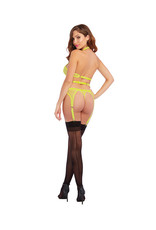 DREAMGIRL LINGERIE DREAMGIRL - 3PC SET - LIME - ONE SIZE