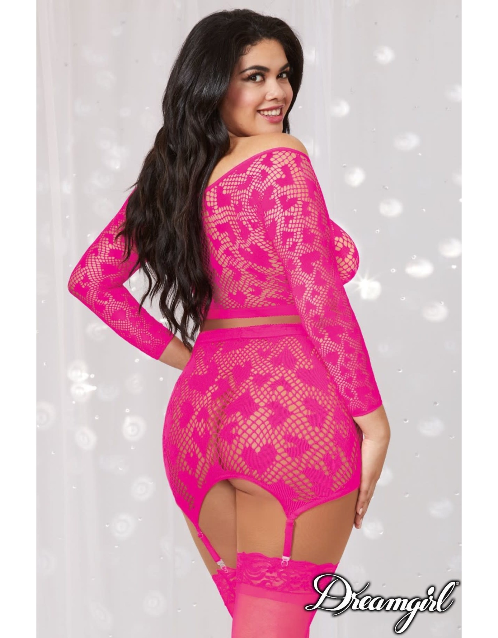 DREAMGIRL LINGERIE DREAMGIRL - 2PC SET - HOT PINK - ONE SIZE QUEEN