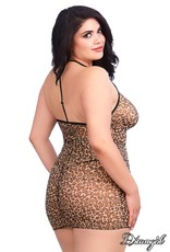 DREAMGIRL LINGERIE DREAMGIRL - LEOPARD ZIPPER CHEMISE - ONE SIZE QUEEN