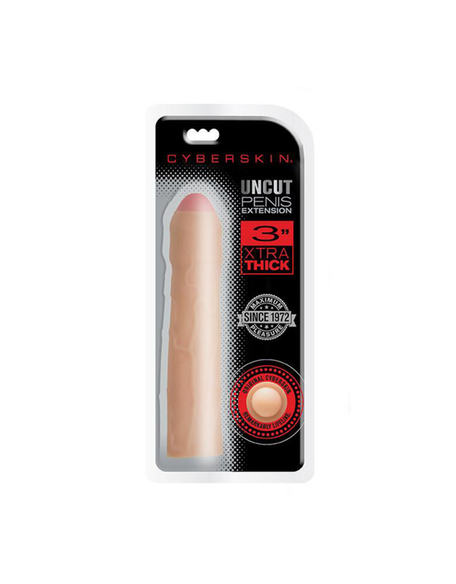 CYBERSKIN - UNCUT PENIS EXTENSION 3 INCHES - LIGHT