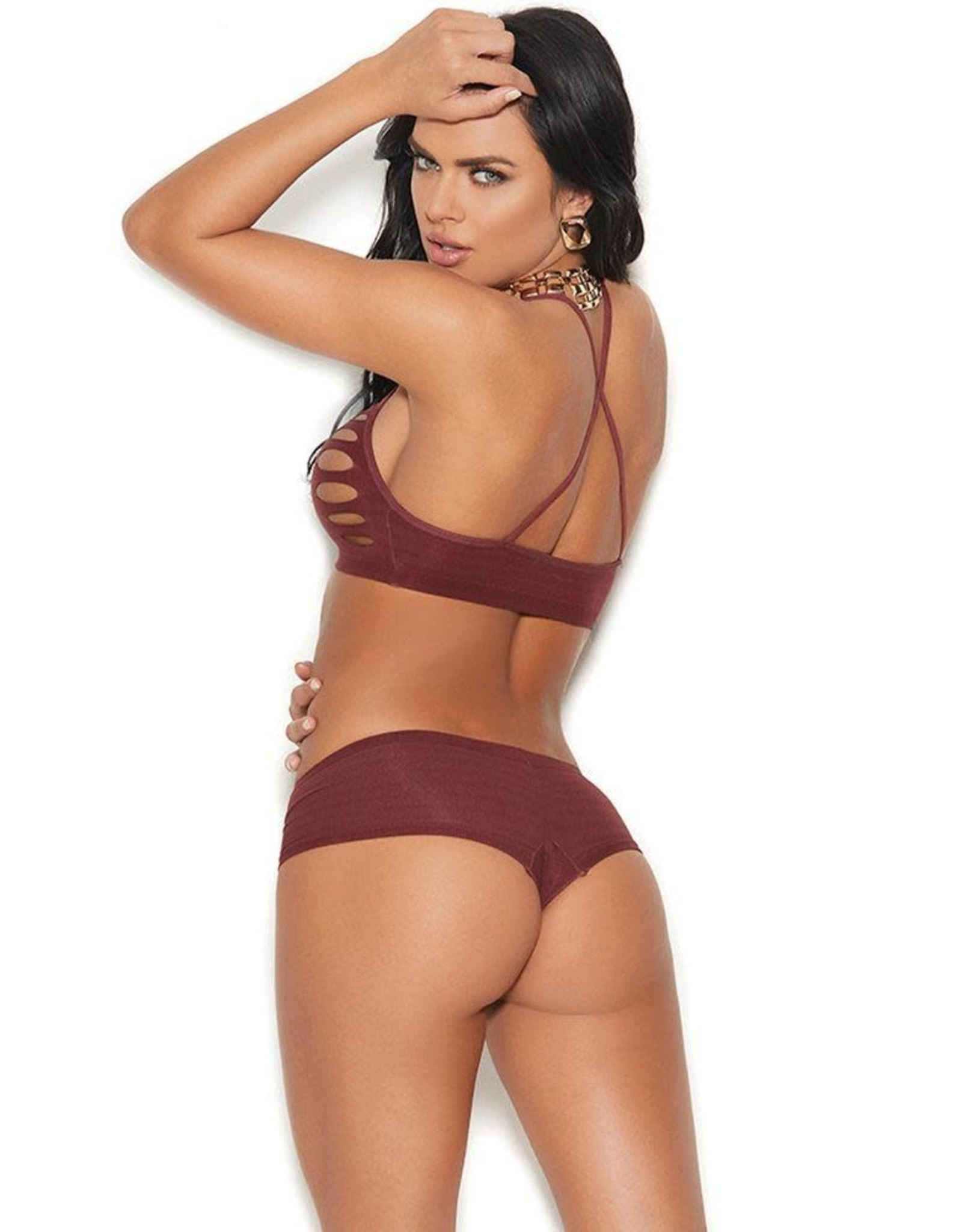 ELEGANT MOMENTS RUST LIES AHEAD SHREDDED BRALETTE & PANTY OS