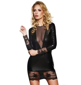 7 HEAVEN - ELEGANT LONG-SLEEVE WET-LOOK DRESS WITH LACE AND TULLE DETAILS - SMALL
