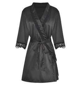 CLASSIC SATIN ROBE BLACK XL