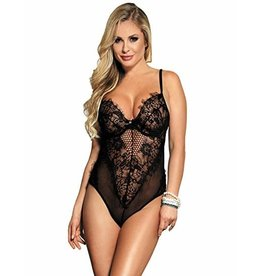 LACE & MESH UNDERWIRE TEDDY BLACK - SMALL