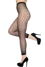 SEXY HOSIERY FASHION FISHNET FOOTLESS TIGHTS W CHEVRON PANTHOSE BLACK O/S
