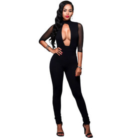 PLUNGING BLACK JUMPSUIT - MEDIUM