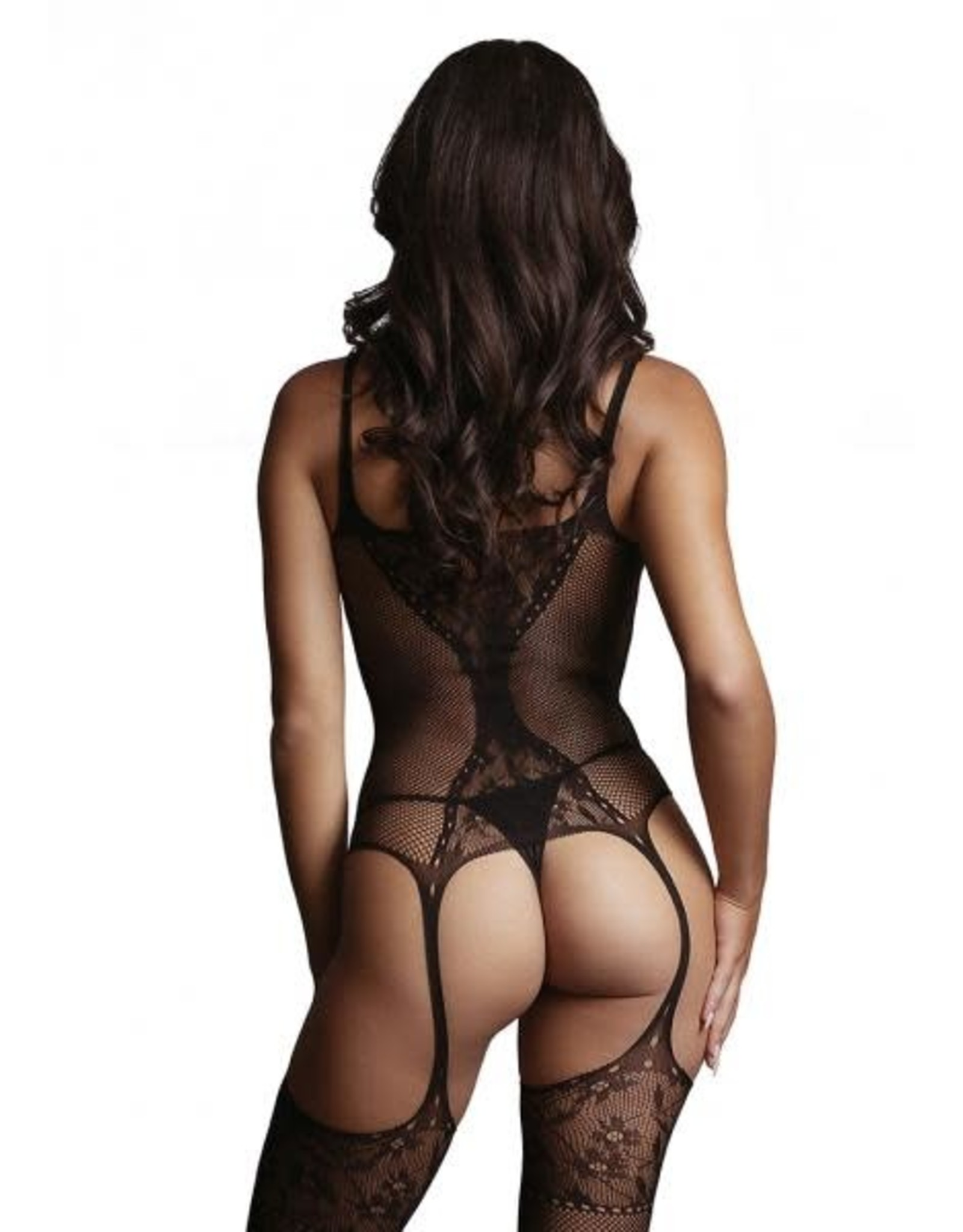 LE DESIR LINGERIE LE DESIR - FISHNET AND LACE BODYSTOCKING - BLACK - ONE SIZE