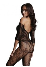 LE DESIR LINGERIE LE DESIR - LACE SLEEVED BODYSTOCKING - BLACK - ONE SIZE