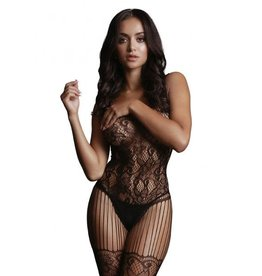 LE DESIR LINGERIE LE DESIR - LACE AND FISHNET BODYSTOCKING - BLACK - ONE SIZE
