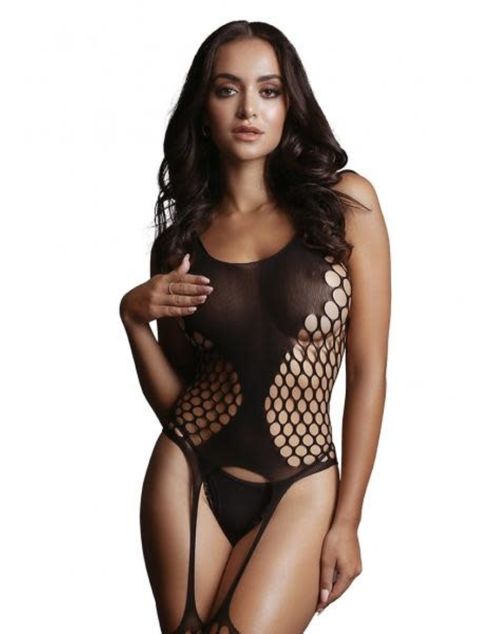 LE DESIR LINGERIE LE DESIR - FENCE SUSPENDER BODYSTOCKING - BLACK - ONE SIZE