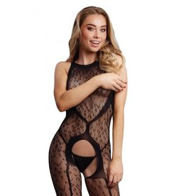 LE DESIR LINGERIE LE DESIR - CROTCHLESS LEOPARD BODYSTOCKING - BLACK - ONE SIZE