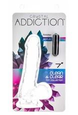 ADDICTION CRYSTAL ADDICTION - CLEAR DILDO WITH BALLS - 7 INCH