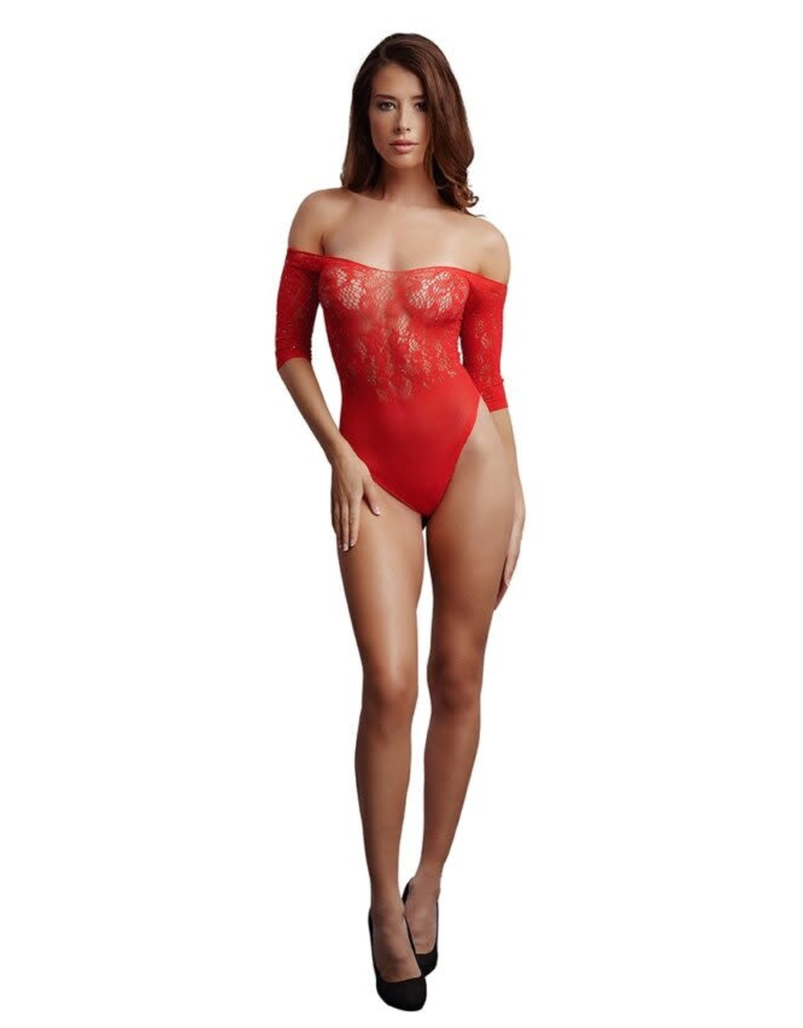 LE DESIR LINGERIE LE DESIR - CROTCHLESS RHINESTONE TEDDY - RED ONE SIZE