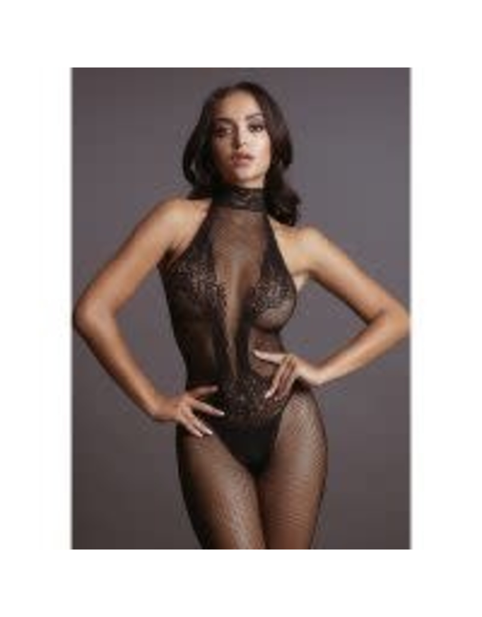 LE DESIR LINGERIE LE DESIR - FISHNET AND LACE BODYSTOCKING BLACK ONE SIZE