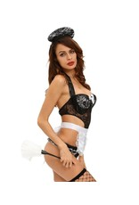 3PCS GOLD FRENCH MAID TEDDY COSTUME