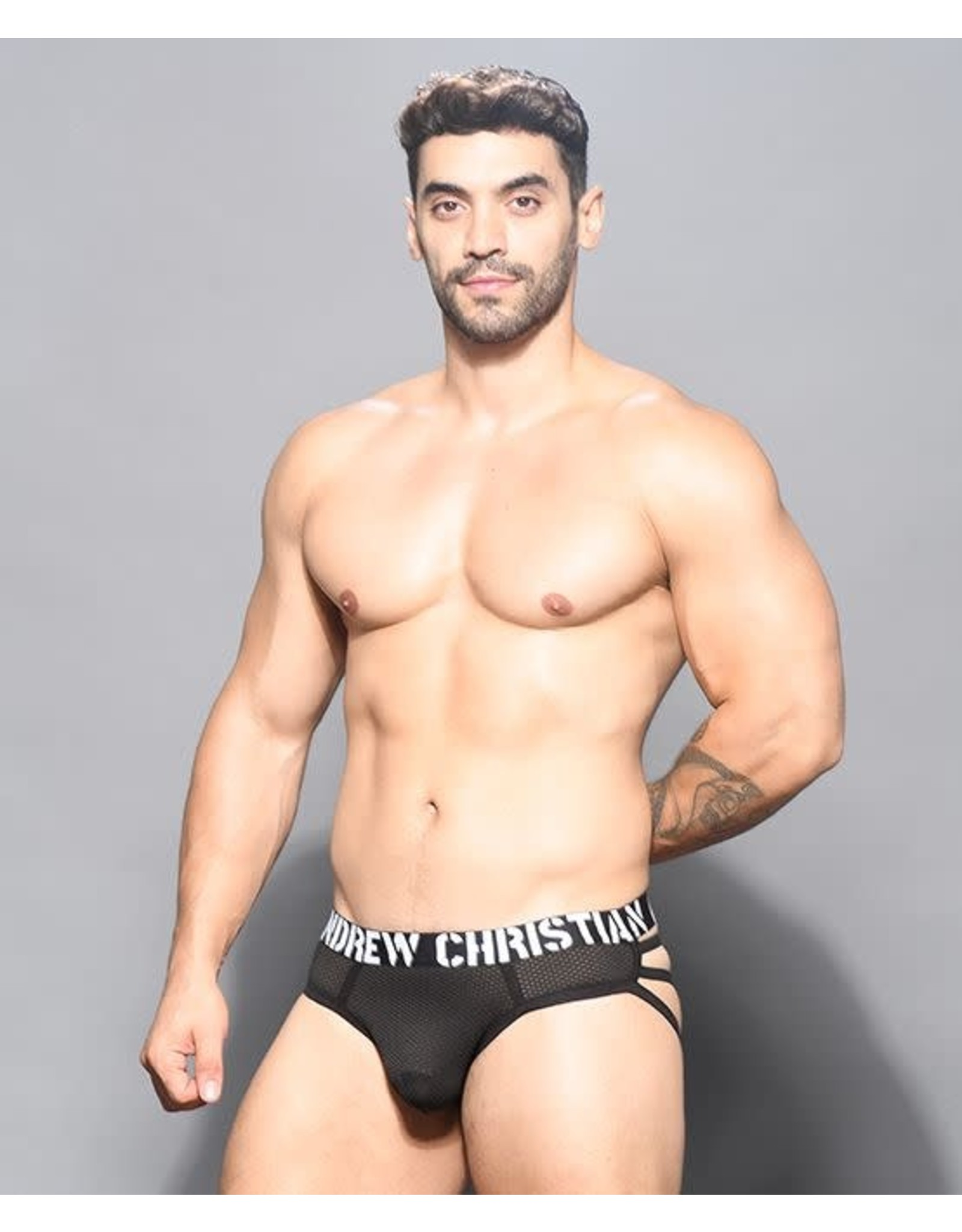 ANDREW CHRISTIAN ANDREW CHRISTIAN - REBEL MESH CAGE THONG W/ ALMOST NAKED SMALL