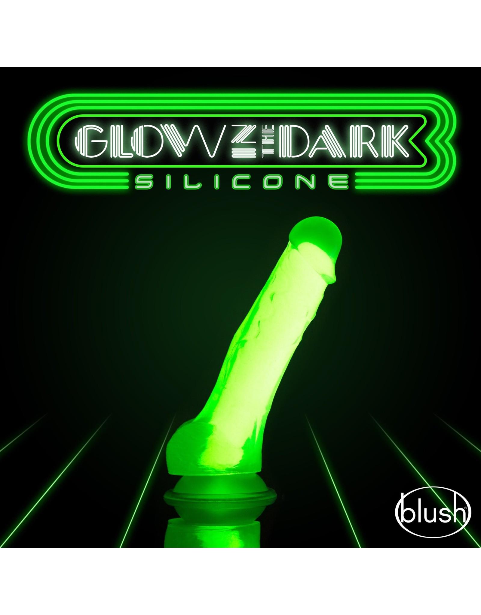 "BLUSH BLUSH - NEO ELITE - GLOW IN THE DARK - 7.5"" SILICONE DUAL DENSITY COCK GREEN"