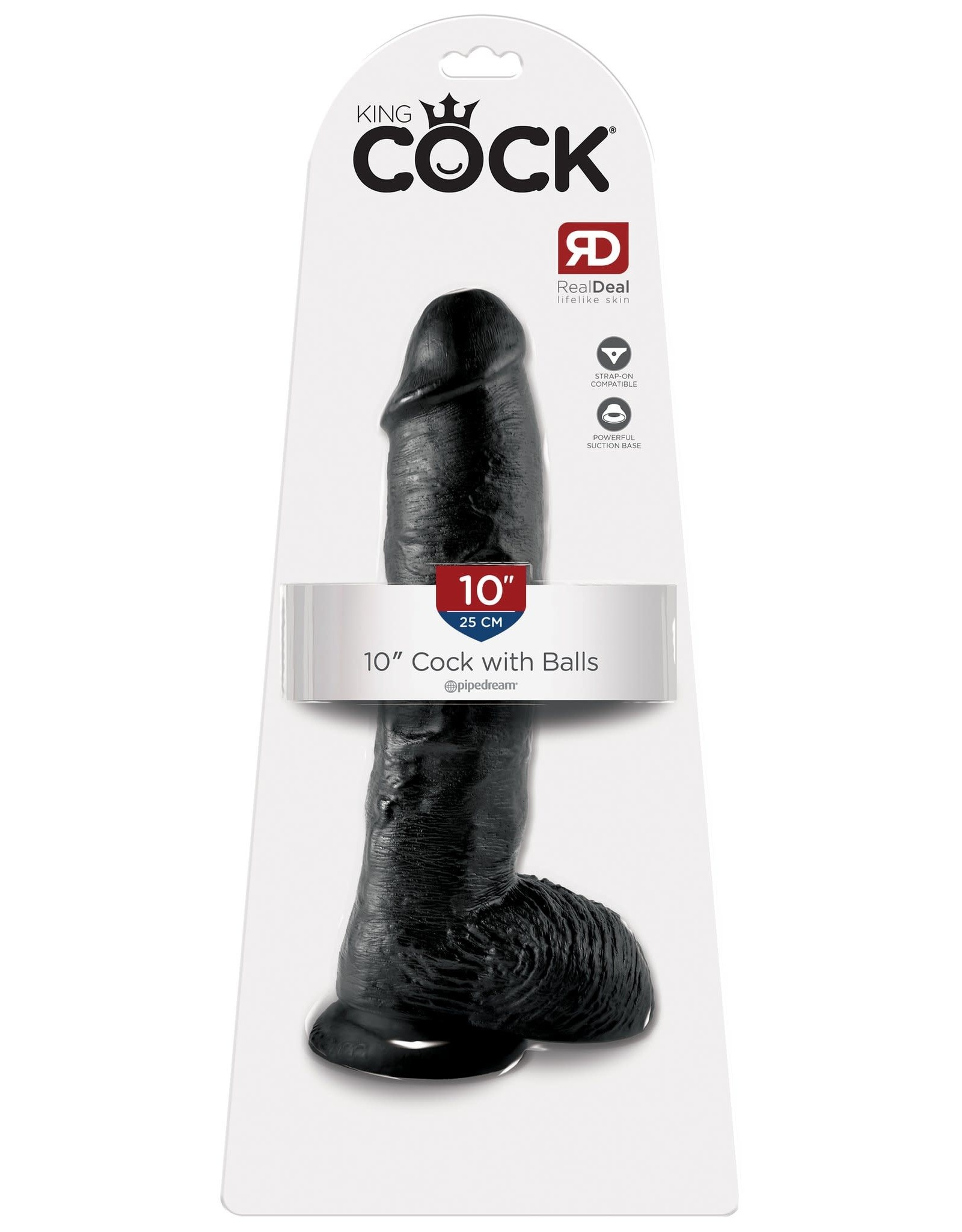 "KING COCK KING COCK  - 10"" COCK W/BALLS - BLACK"