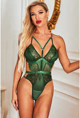 GREEN STRAPPY HOLLOW-OUT LACE TEDDY - (US 12-14)L