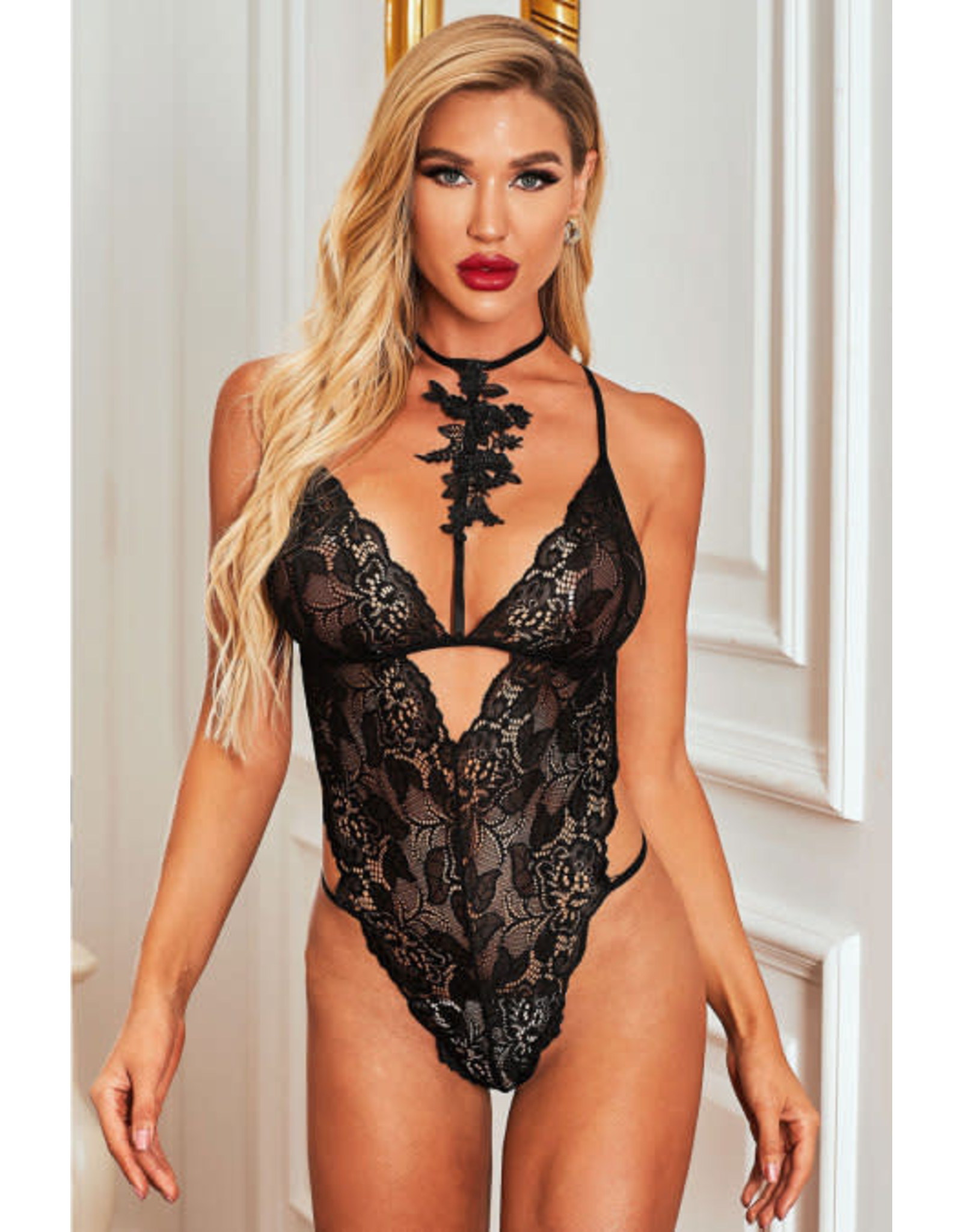 BLACK ROSES FALL LACE TEDDY - (US 8-10)M