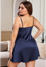 NAVY PLUS SIZE LACE TRIM VALENTINE BABYDOLL DRESS - (US 12-14)0X