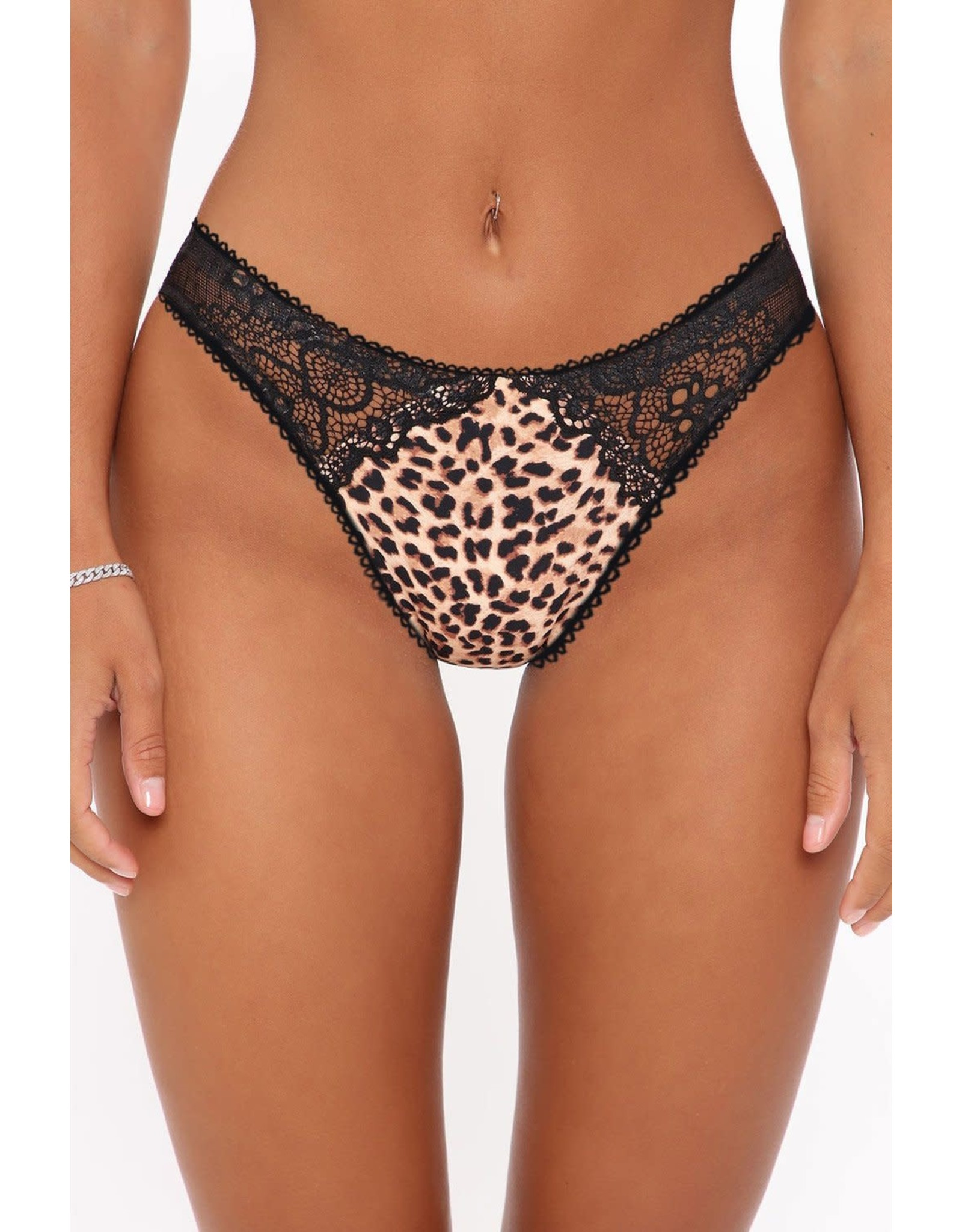 ANIMAL LEOPARD LACE PATCHWORK HOLLOW OUT WILD PANTY - (US 12-14)L