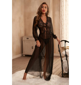 SHEER LONG SLEEVE LACE ROBE WITH THONG - (US 8-10)M