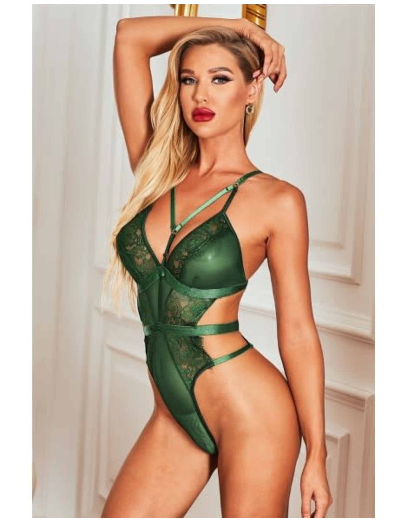 GREEN STRAPPY HOLLOW-OUT LACE TEDDY - (US 4-6)S