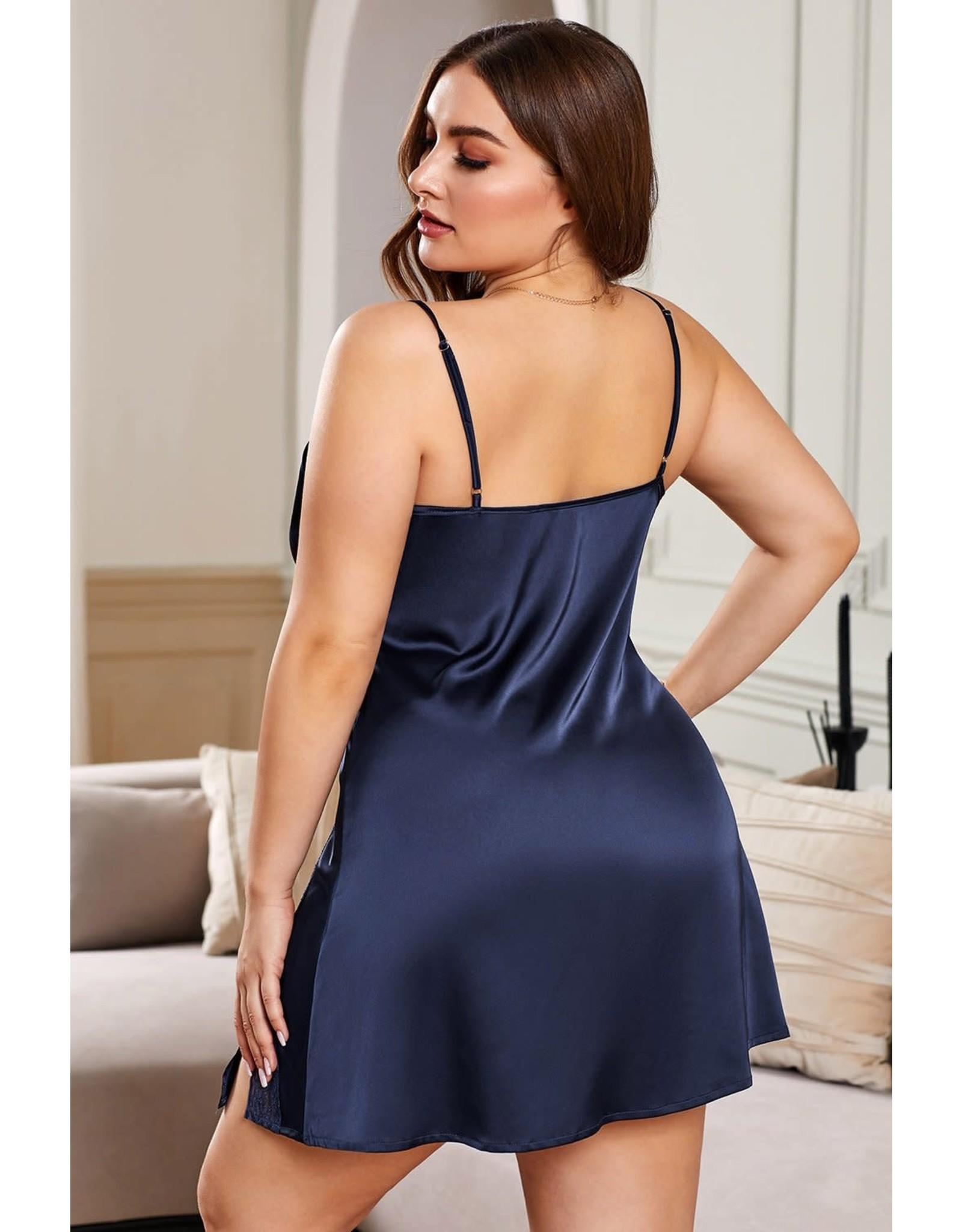 NAVY PLUS SIZE LACE TRIM VALENTINE BABYDOLL DRESS - (US 30-32)5X