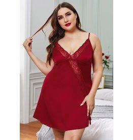RED PLUS SIZE LACE TRIM VALENTINE BABYDOLL DRESS - (US 14-16)1X