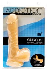 "ADDICTION ADDICTION- DAVID 8"" BENDABLE SILICONE DILDO  / COLOUR: BEIGE"
