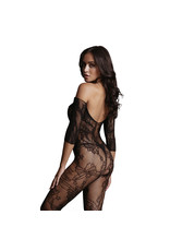 LE DESIR LINGERIE LACE SLEEVED BODYSTOCKING - BLACK - OSX