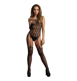 LE DESIR LINGERIE STRAPLESS, CROTCHLESS TEDDY WITH STOCKINGS - BLACK - O/S