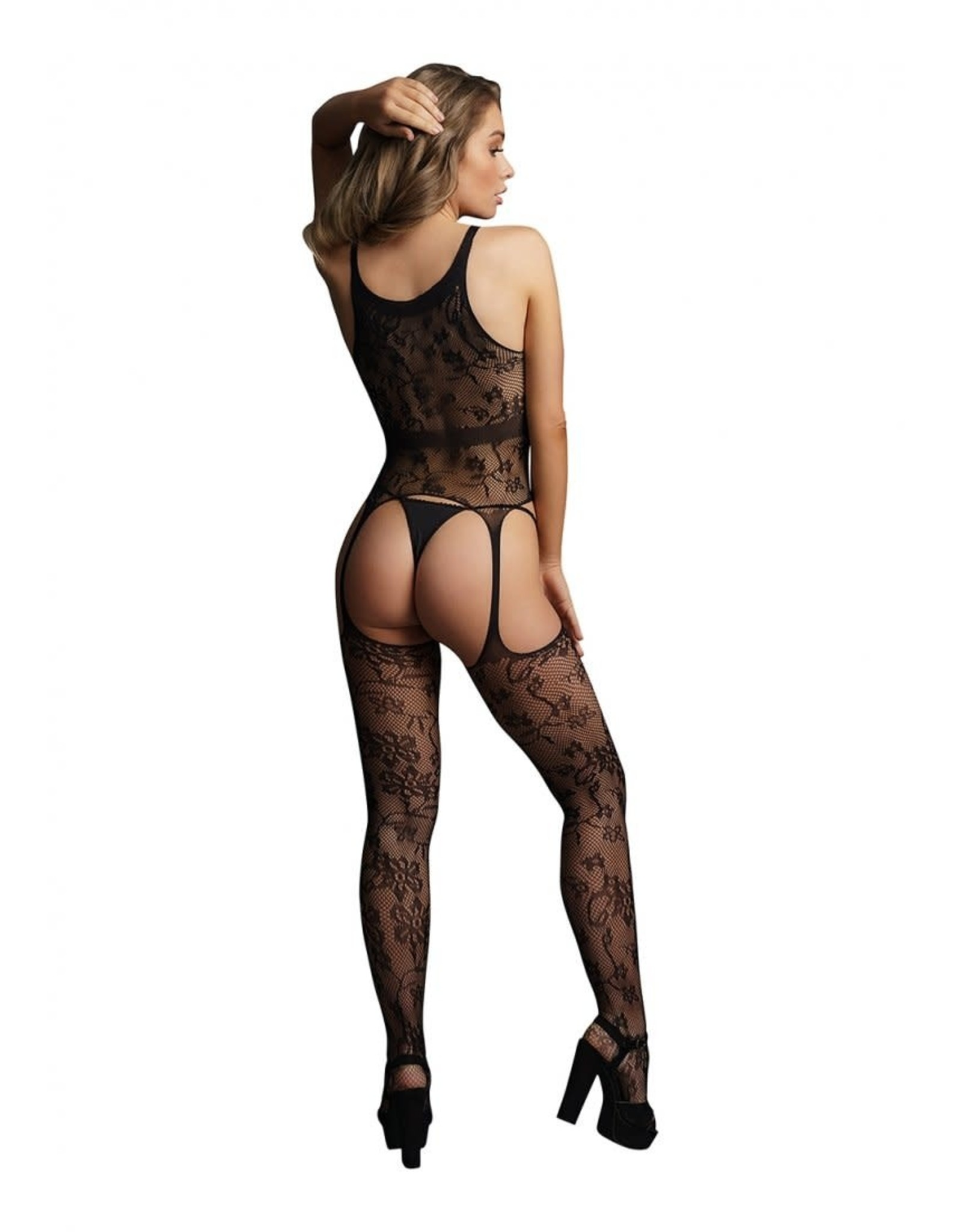 LE DESIR LINGERIE LACE SUSPENDER BODYSTOCKING WITH ROUND NECK - BLACK - O/S