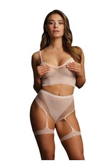 LE DESIR LINGERIE 2PC BRA SET WITH GARTERS - PINK - O/S