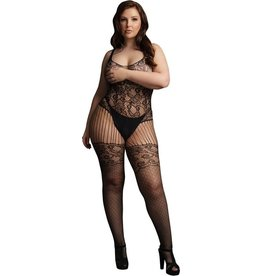 LE DESIR LINGERIE LACE AND FISHNET BODYSTOCKING - BLACK - OSX