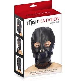 FETISH TENTATION - BDSM HOOD IN LEATHERETTE WITH REMOVABLE GAG