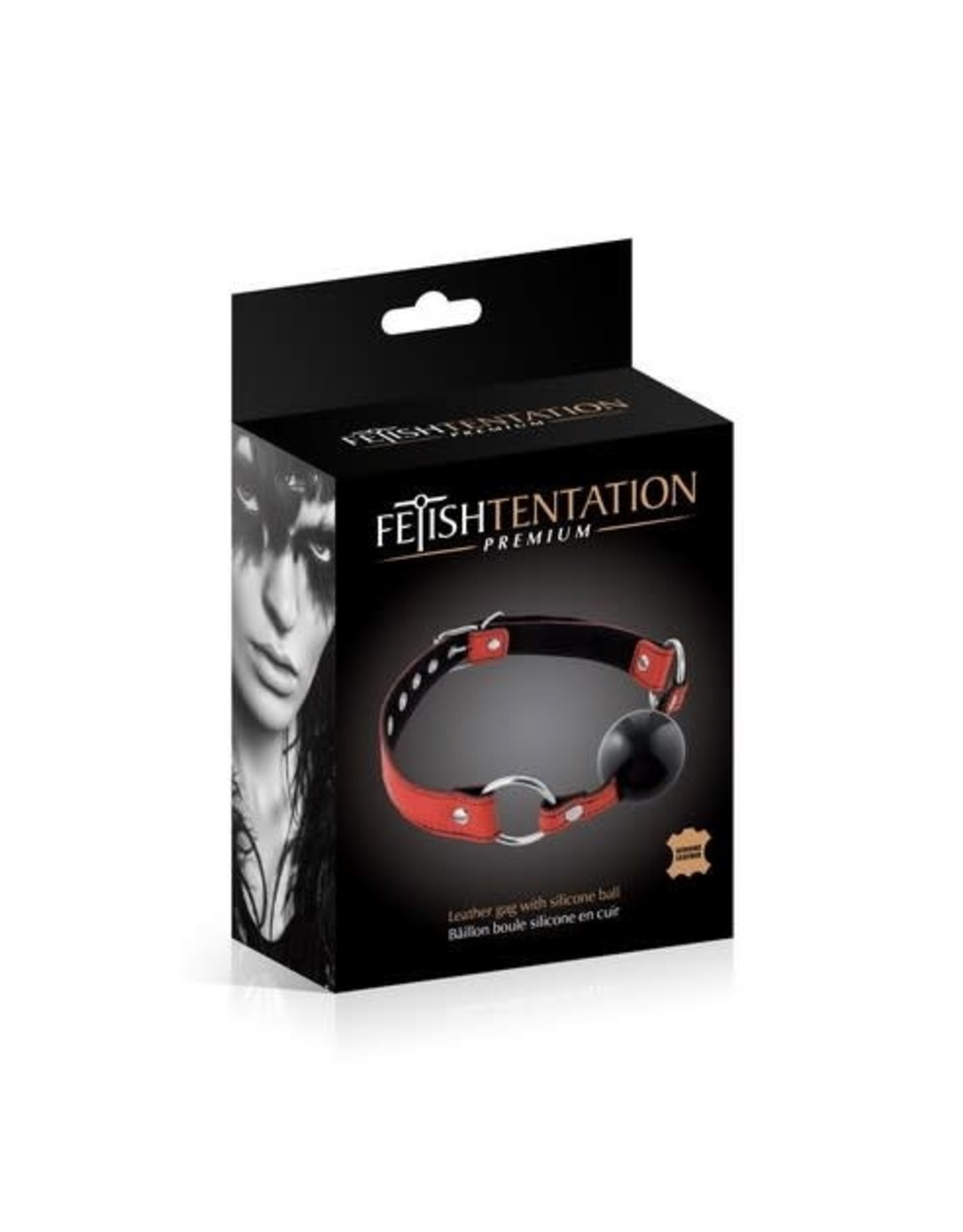 FETISH TENTATION - PREMIUM LEATHER GAG WITH SILICONE BALL RED