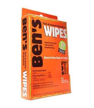 BENS Insect Repellent Wipes, 12/Pack