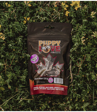 PUPPY LOVE PET PRODUCTS DUCK HEARTS 120G