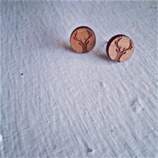 PIKA & BEAR DEER WITH ANTLERS CHERRYWOOD STUD EARRINGS