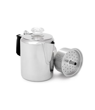 GSI OUTDOORS GLACIER STAINLESS COFFEE PERCOLATOR WITH SILICONE HANDLE, 6 CUP