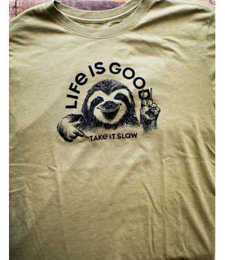 LIFE IS GOOD MEN'S TAKE IT SLOW SLOTH CRUSHER TEE