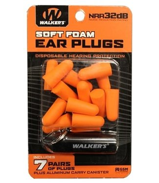 WALKERS 7 PAIRS FOAM PLUG W/ ALUMINUM CARRY CANISTER
