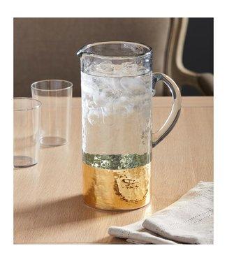 MUDPIE GOLD HAMMERED GLASS PITCHER