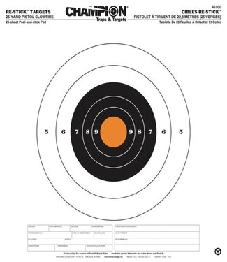 CHAMPION CHAMPION RE-STICK 25 YD PISTOL SLOWFIRE TARGET [25 PACK]